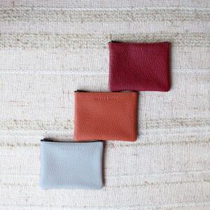 vue multiproduits pochette cuir grainé upcyclé gris petit modèle jules & jenn