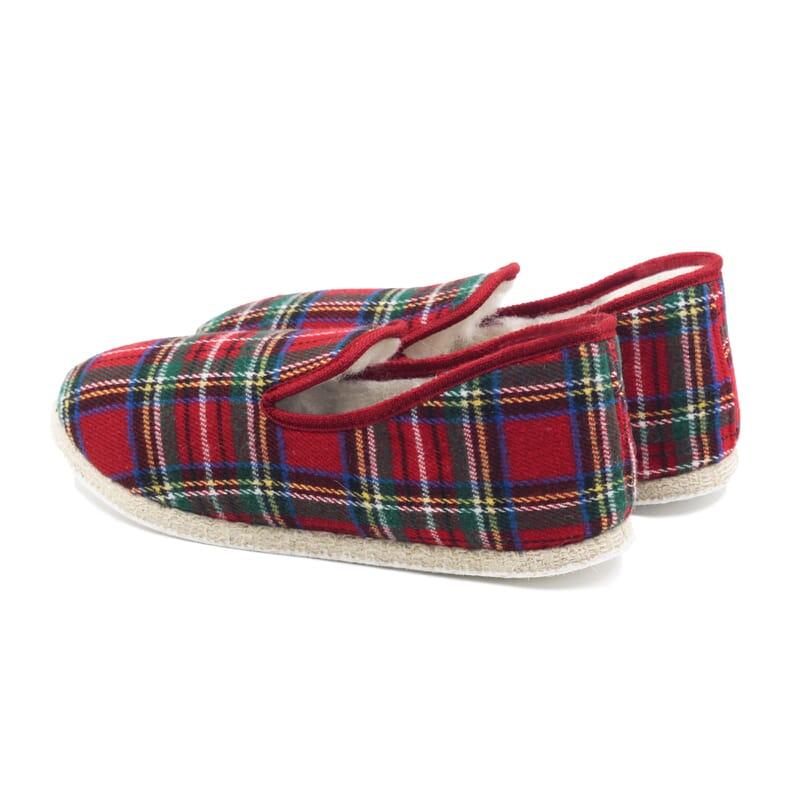 vue arrière charentaises ecossais rouge jules & jenn