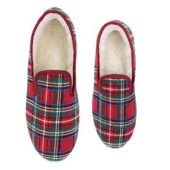 vue dessus charentaises ecossais rouge jules & jenn