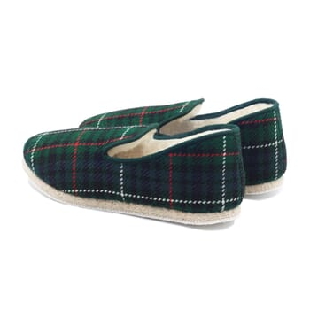vue arrière charentaises ecossais vert jules & jenn