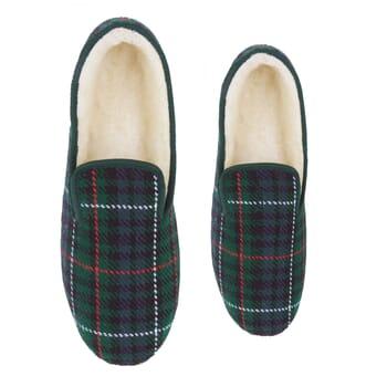 vue dessus charentaises ecossais vert jules & jenn