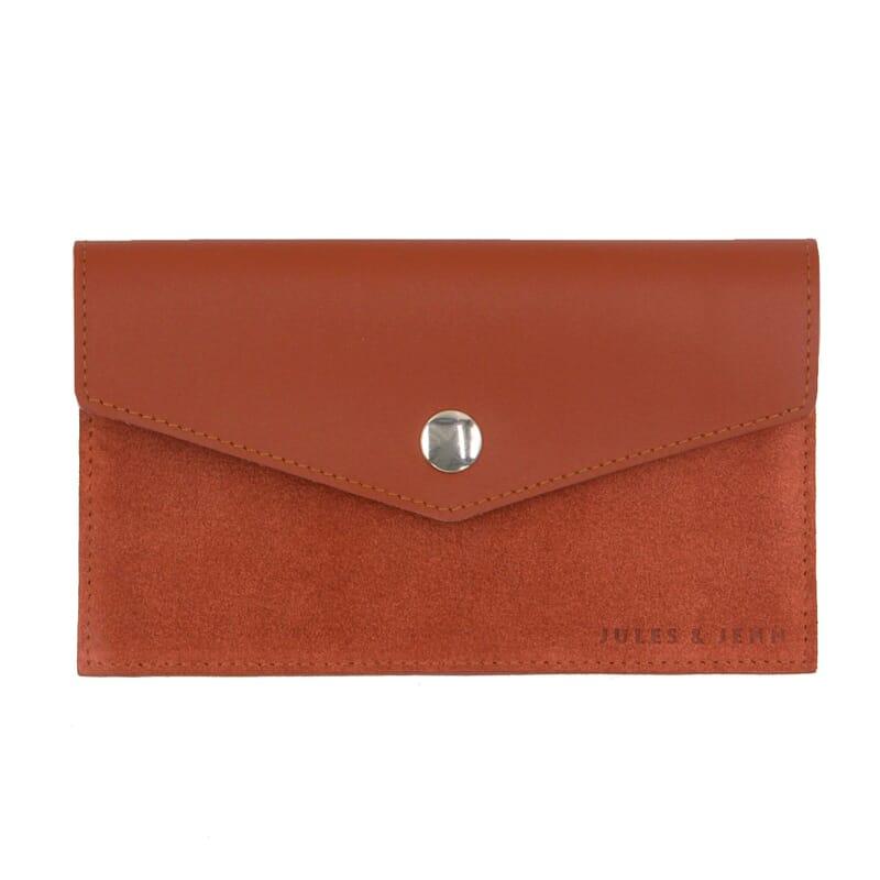 Pochette enveloppe cuir brique JULES & JENN