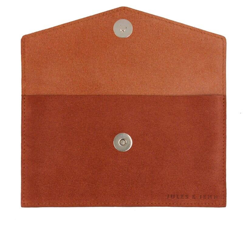 vue intérieur pochette enveloppe cuir brique JULES & JENN