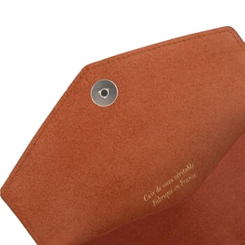 vue dessus pochette enveloppe cuir brique JULES & JENN