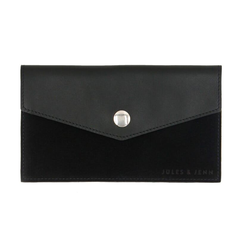 Pochette enveloppe cuir noir JULES & JENN