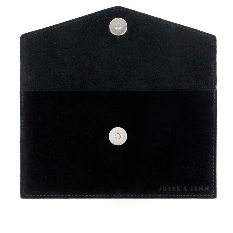 vue intérieur pochette enveloppe cuir noir JULES & JENN