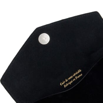 vue dessus pochette enveloppe cuir noir JULES & JENN