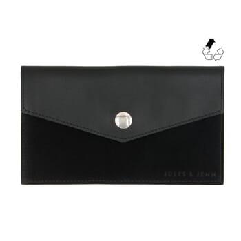 Pochette enveloppe cuir upcyclé noir jules & jenn