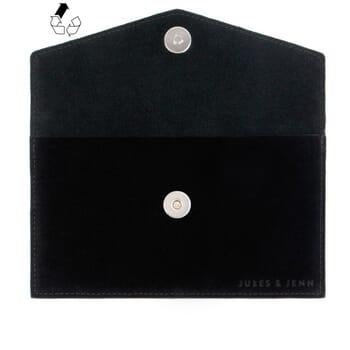 vue avant pochette enveloppe cuir upcyclé noir jules & jenn