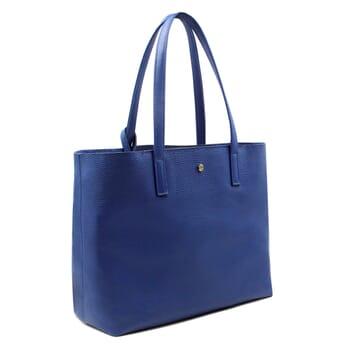 sac cabas cuir souple grainé bleu royal JULES & JENN