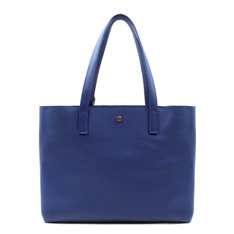 vue face sac cabas cuir souple grainé bleu royal JULES & JENN