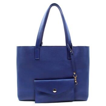 vue arrière sac cabas cuir souple grainé bleu royal JULES & JENN