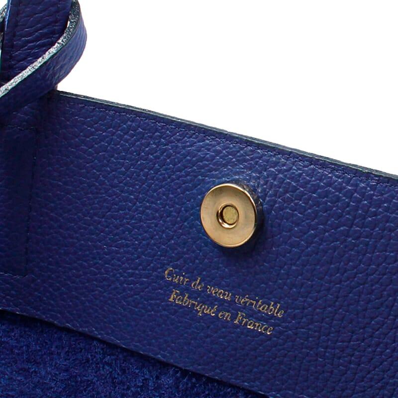 vue intérieur sac cabas cuir souple grainé bleu royal JULES & JENN