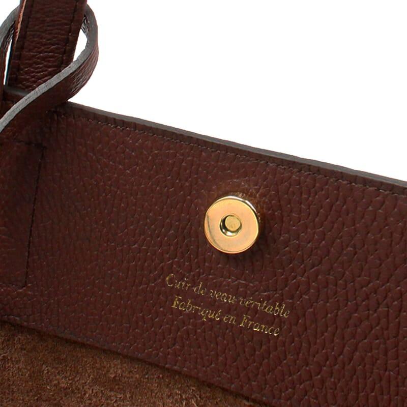 vue intérieur sac cabas cuir souple grainé marron JULES & JENN