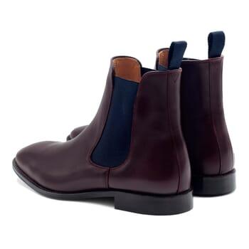 vue arrière chelsea boots cuir bordeaux et bleu JULES & JENN