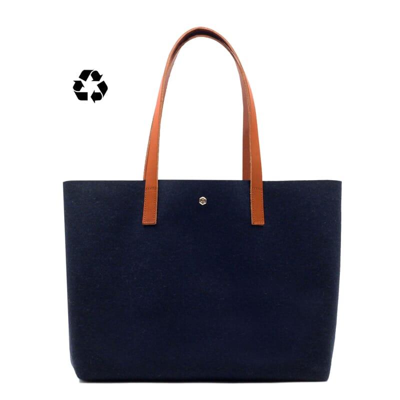 vue face sac cabas drap de laine bleu JULES & JENN