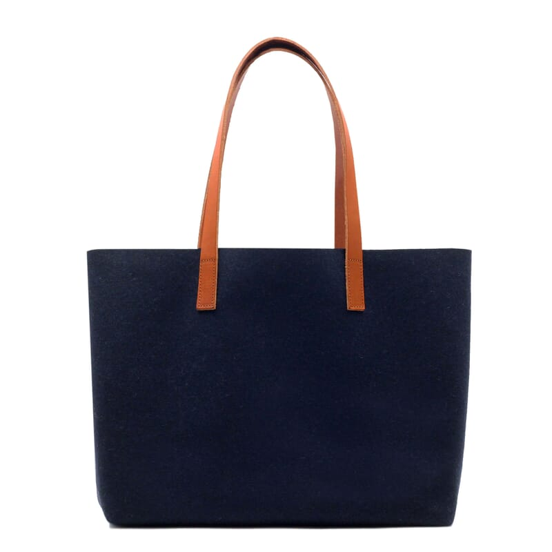 vue dos sac cabas drap de laine bleu JULES & JENN