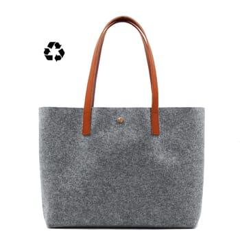 vue face sac cabas drap de laine gris JULES & JENN