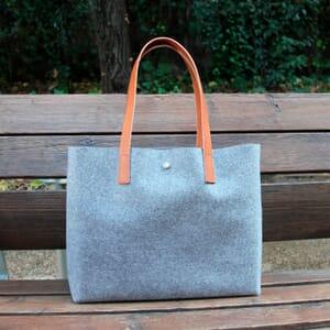 vue posée sac cabas drap de laine gris JULES & JENN