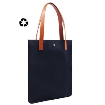 vue côté sac cabas ultra-fin drap de laine bleu JULES & JENN