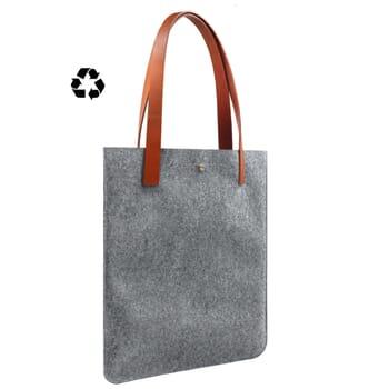vue côté sac cabas ultra-fin drap de laine gris JULES & JENN