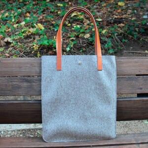vue posée sac cabas ultra-fin drap de laine gris JULES & JENN