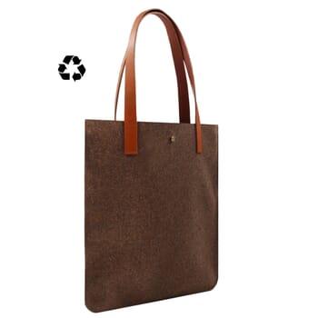 vue côté sac cabas ultra-fin drap de laine marron JULES & JENN