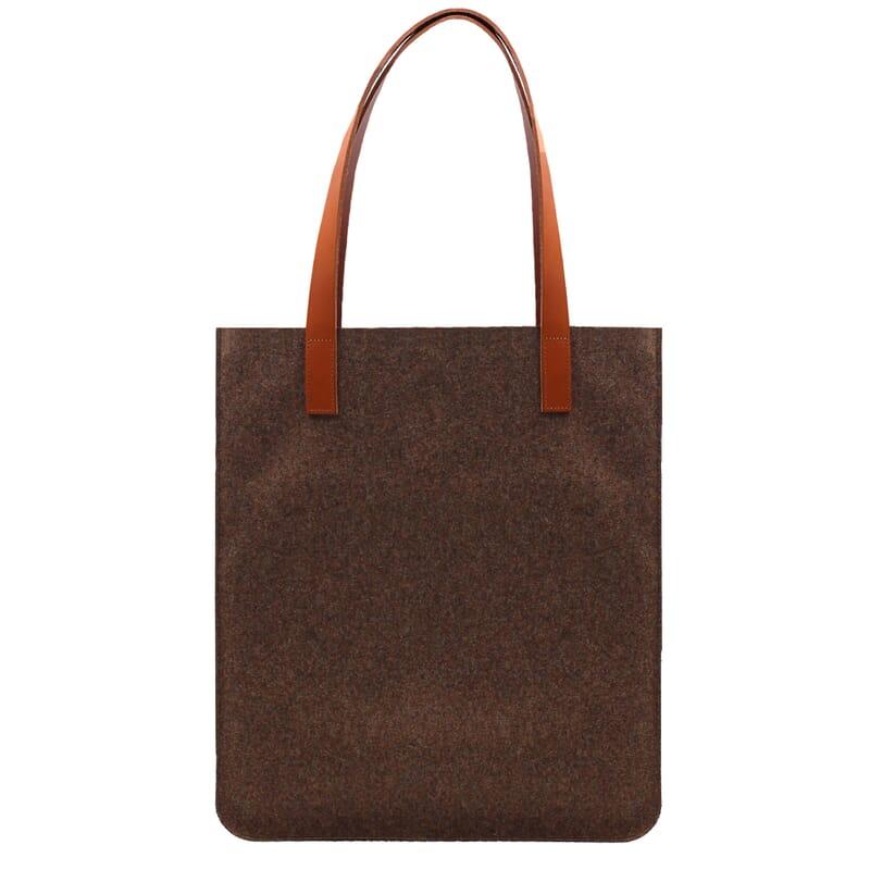 vue arrière sac cabas ultra-fin drap de laine marron JULES & JENN