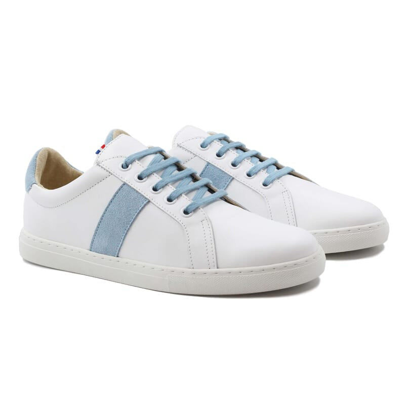 baskets made in france cuir blanc bleu clair jules & jenn