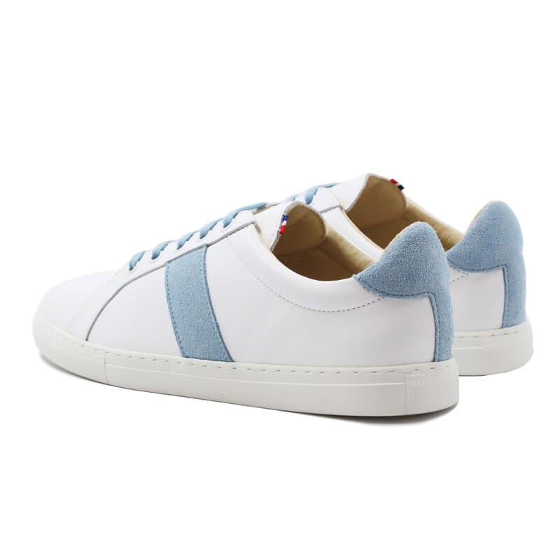 vue arriere baskets made in france cuir blanc bleu clair jules & jenn