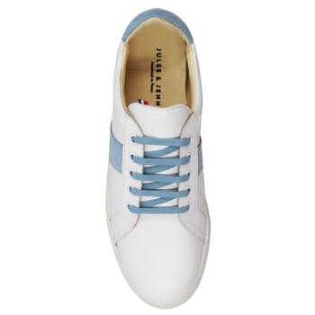vue dessus baskets made in france cuir blanc bleu clair jules & jenn
