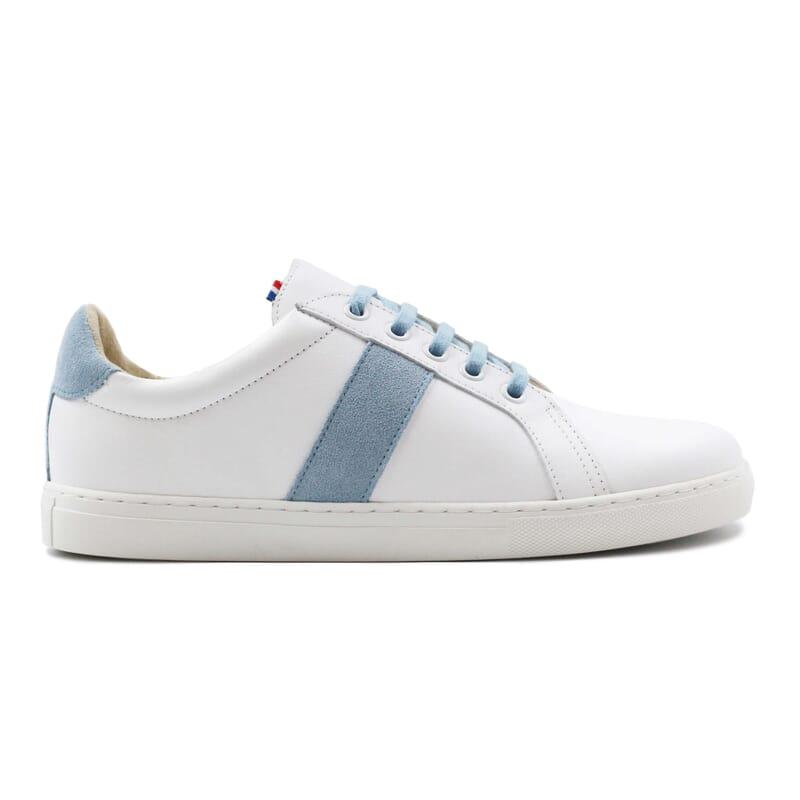 vue exterieur baskets made in france cuir blanc bleu clair jules & jenn