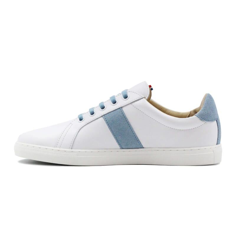 vue interieur baskets made in france cuir blanc bleu clair jules & jenn