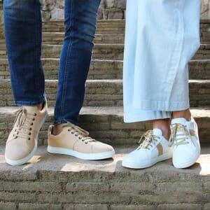 vue portee baskets made in France cuir daim beige jules & jenn