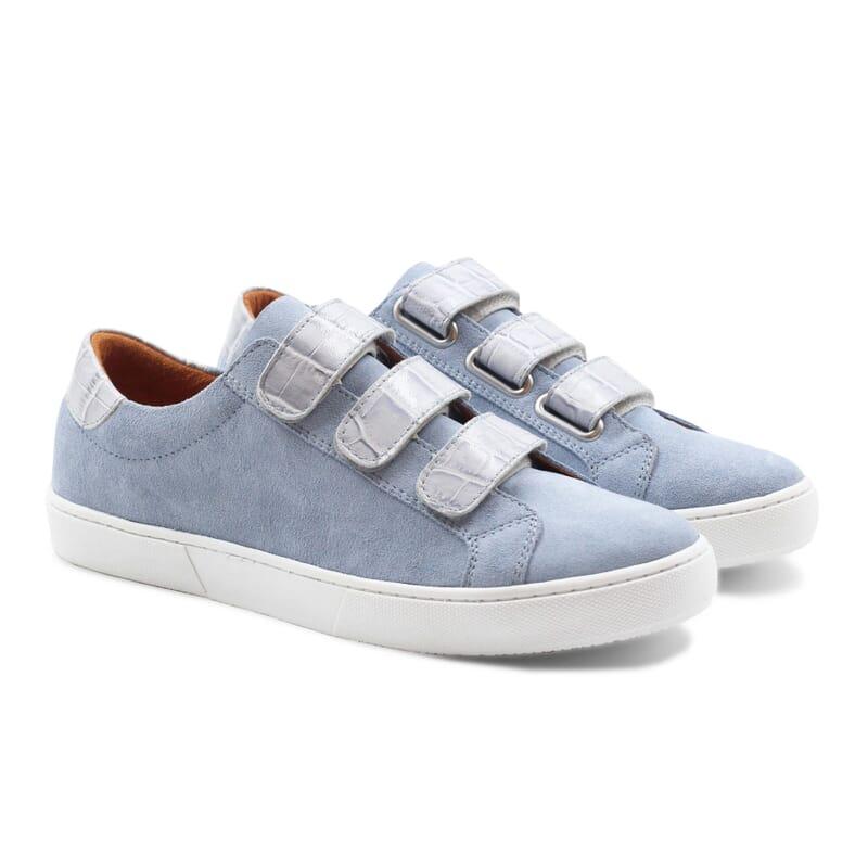 baskets à scratch cuir daim bleu clair JULES & JENN