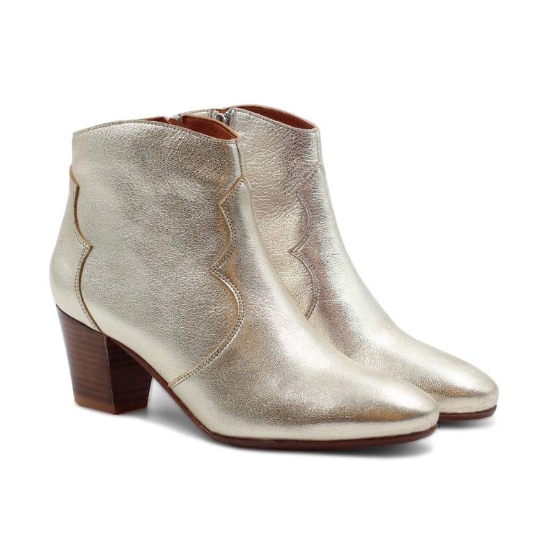 bottines cowboy cuir metallisé doré jules & jenn