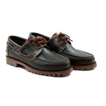 chaussures bateau crampons cuir vert JULES & JENN