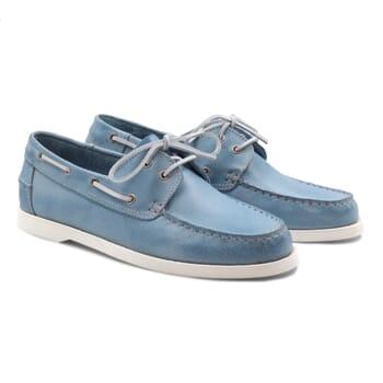 chaussure bateau cuir bleu clair JULES & JENN