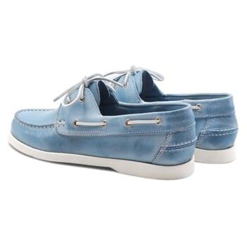 vue arrière chaussure bateau cuir bleu clair JULES & JENN