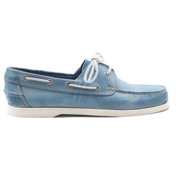 vue extérieur chaussure bateau cuir bleu clair JULES & JENN