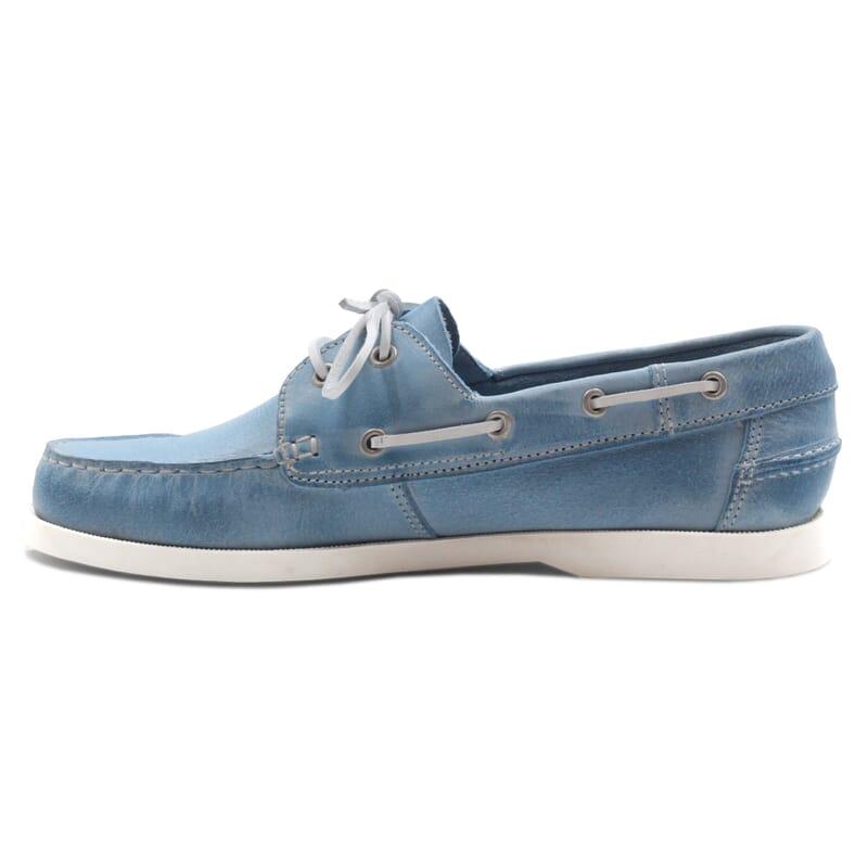 vue intérieur chaussure bateau cuir bleu clair JULES & JENN