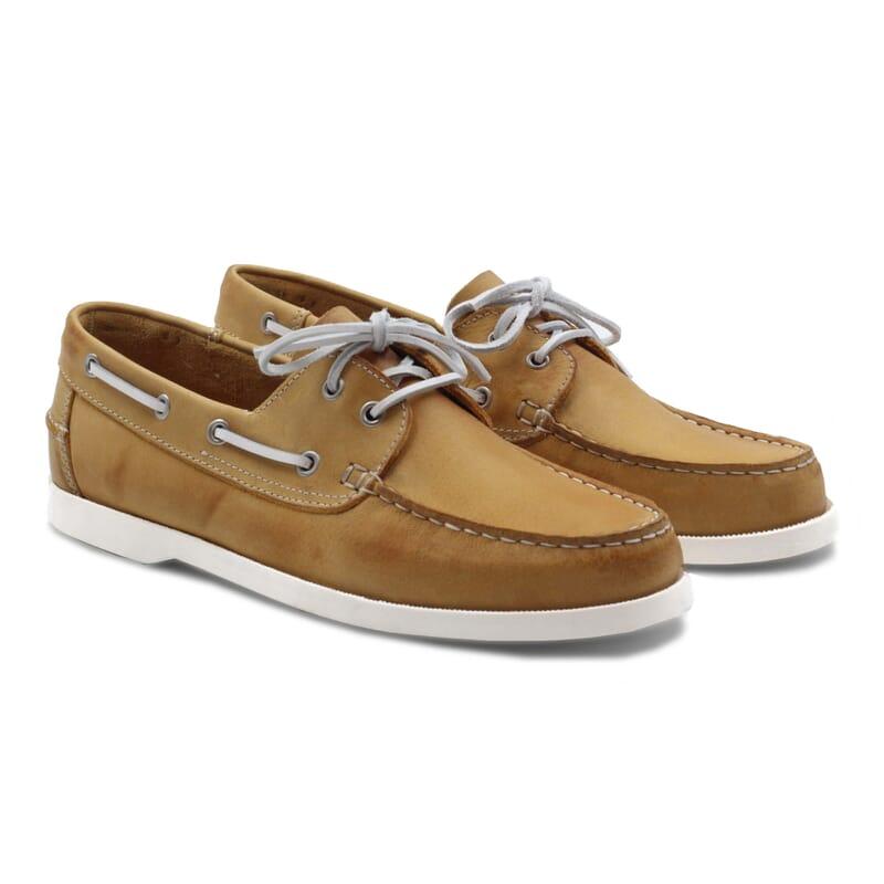 chaussure bateau cuir jaune JULES & JENN