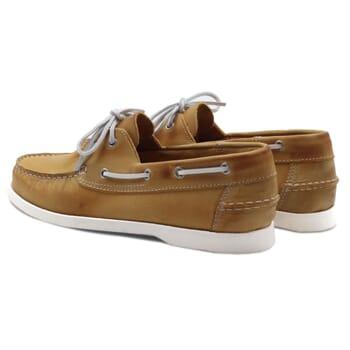 vue arrière chaussures bateau cuir jaune jules & jenn