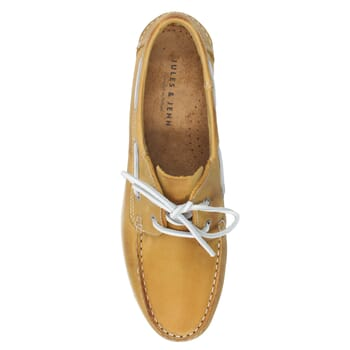 vue dessus chaussure bateau cuir jaune JULES & JENN