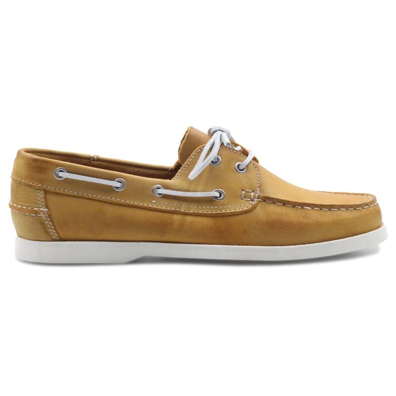 vue extérieur chaussure bateau cuir jaune JULES & JENN