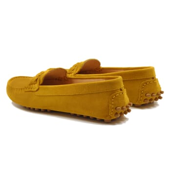 vue arriere mocassins tresse femme cuir daim jaune jules & jenn