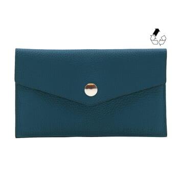 pochette enveloppe cuir grainé upcyclé bleu denim jules & jenn