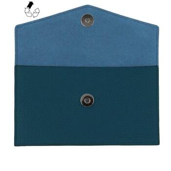 vue dessus pochette enveloppe cuir grainé upcyclé bleu denim jules & jenn