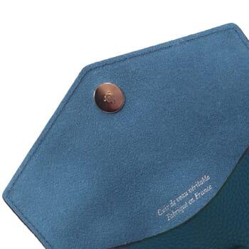 vue intérieur pochette enveloppe cuir grainé upcyclé bleu denim jules & jenn