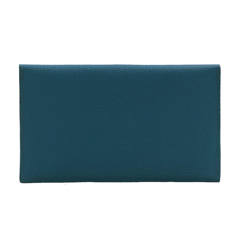 vue arrière pochette enveloppe cuir grainé upcyclé bleu denim jules & jenn